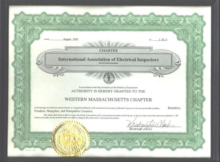Charter IAEI Western Mass Chapter August 1993